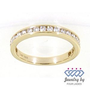 Real Diamond Simple Wedding Band 14K Yellow Band
